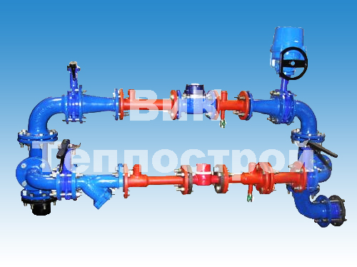 Водомерный узел Ду=50 мм с счетчиком СКБи-40 для ввода ду 100 мм.(задвижки МЗВ)